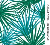palm leaf vector seamless... | Shutterstock .eps vector #463219490