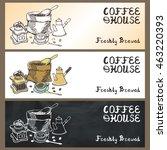 coffee doodles tableware banner ... | Shutterstock . vector #463220393