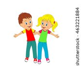 kids boy and girl arm in arm... | Shutterstock .eps vector #463221884