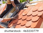 hands of roofer laying tile on... | Shutterstock . vector #463233779