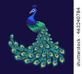 colorful peacock for your... | Shutterstock .eps vector #463240784
