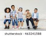 young children friends diverse... | Shutterstock . vector #463241588