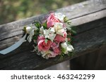 the bride's bouquet lying on... | Shutterstock . vector #463242299