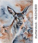 deer in the forest   watercolor ... | Shutterstock . vector #463242800
