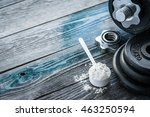 classic dumbbell with protein... | Shutterstock . vector #463250594
