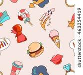 seamless pattern cartoon patch... | Shutterstock .eps vector #463254419