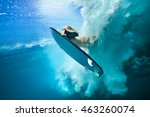 beautiful surfer diving... | Shutterstock . vector #463260074