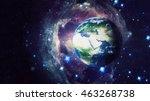 planet earth global hologram  ... | Shutterstock . vector #463268738