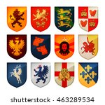 royal coat of arms on shield... | Shutterstock .eps vector #463289534