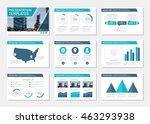 set of blue template for... | Shutterstock .eps vector #463293938