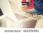 hands holding credit card and... | Shutterstock . vector #463296983