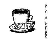 tea and a lemon  lemon slice on ... | Shutterstock .eps vector #463299290