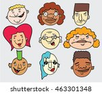 funny doodle faces | Shutterstock .eps vector #463301348