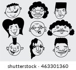 funny doodle faces | Shutterstock .eps vector #463301360