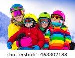 mother and children skiing in... | Shutterstock . vector #463302188