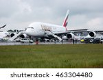 Small photo of BERLIN, GERMANY - JUNE 01, 2016: The largest passenger airliner in the world Airbus A380-800. Emirates Airline. Exhibition ILA Berlin Air Show 2016