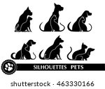 Stock vector silhouettes of pets 463330166