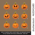 vector icons of jack o lantern... | Shutterstock .eps vector #463341680