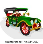 veteran car on the road | Shutterstock .eps vector #46334206