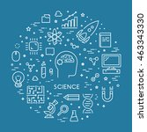 line web concept for science.... | Shutterstock . vector #463343330
