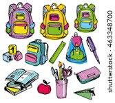 back to school big doodles set. ... | Shutterstock .eps vector #463348700