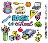 back to school big doodles set. ... | Shutterstock .eps vector #463348724