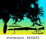 floral vector beach and trees...   Shutterstock .eps vector #4633651