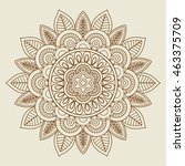 hand drawn floral rosette in... | Shutterstock .eps vector #463375709