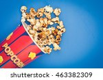 paper container with popcorn on ... | Shutterstock . vector #463382309