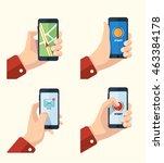 vector pictures set of hands... | Shutterstock .eps vector #463384178