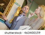 an art seller meets with a... | Shutterstock . vector #463400159