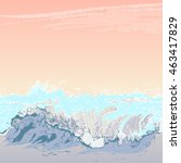 seascape at sunset. summer... | Shutterstock . vector #463417829