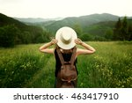 woman traveler with backpack... | Shutterstock . vector #463417910