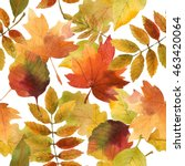 watercolor autumn seamless... | Shutterstock . vector #463420064
