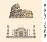 colosseum and taj mahal hand... | Shutterstock .eps vector #463423070