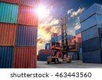 crane lifter handling container ... | Shutterstock . vector #463443560
