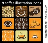 9 coffee illustration icons | Shutterstock .eps vector #46346269