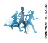 a team of active runners.... | Shutterstock .eps vector #463466330