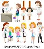 boys and girls visiting doctors ... | Shutterstock .eps vector #463466750
