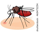 cartoon mosquito sucking blood | Shutterstock . vector #463473254