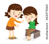 sad children.girl comforting... | Shutterstock .eps vector #463475063