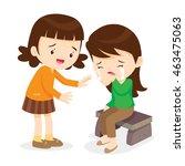 sad children.girl comforting... | Shutterstock .eps vector #463475063