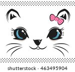 cute baby cat face with bow on... | Shutterstock .eps vector #463495904