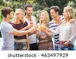 group of friends toasting their ... | Shutterstock . vector #463497929