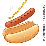 hot dog with mustard. vector... | Shutterstock .eps vector #463508360