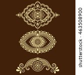 set of mehndi flower pattern... | Shutterstock .eps vector #463508900
