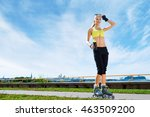 fit  sporty and athletic young... | Shutterstock . vector #463509200