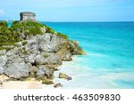 sea with heritage of cancun | Shutterstock . vector #463509830