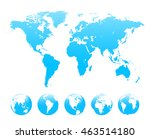 world map and set of earth... | Shutterstock .eps vector #463514180