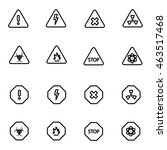 vector line danger icon set on... | Shutterstock .eps vector #463517468